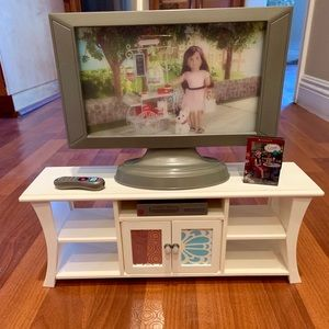 American Girl flat screen TV, stand and VCR